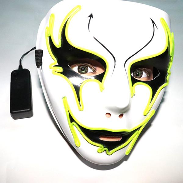 Maschera ACEHE Halloween maschere LED Glow Mascherina spaventosa luce fino Cosplay Glow in Dark Festival Music Party Costume Tipo A-F