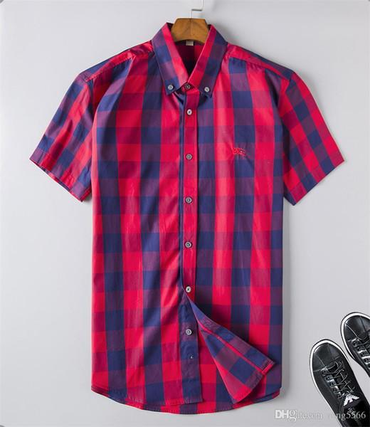 2019 nuevos de moda la onda de los camisa de tela escocesa de impresión en color de mezcla de lujo Harajuku camisas ocasionales de la manga corta de la medusa manga larga # 17