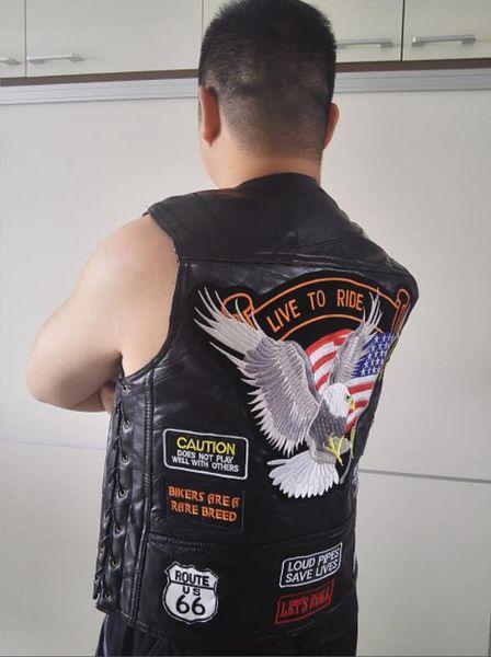 BONJEAN Marka Erkek Gerçek Deri Motosiklet Yelek With14 Yamalar ABD Bayrağı Kartal Biker Yelek Yüksek Kaliteli süet ABD S-3XL