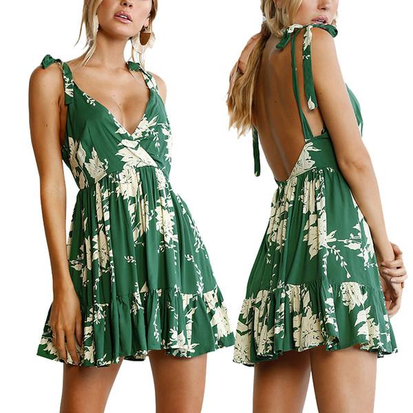 Дамы пляж платье Sexy глубокий V спинки рукавов зеленый цветочные печатных SML XL XXL мини Boho платье