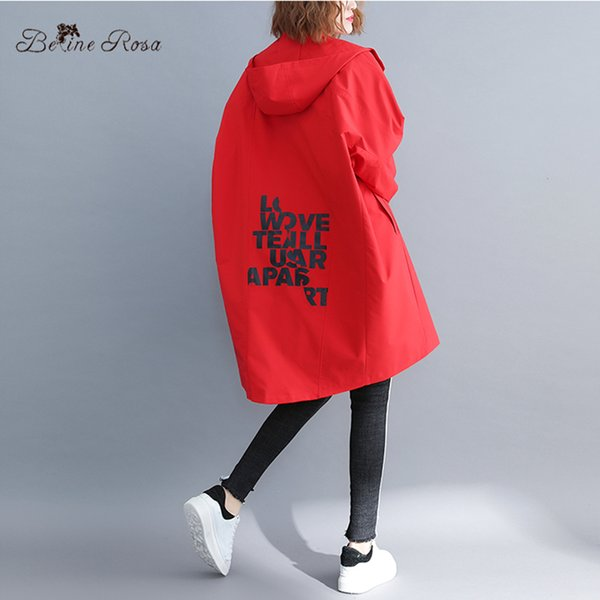 BelineRosa 4XL 5XL 6XL Big Sizes Women Coats Fashion Letter Print in Back Casual Oversized Trench Coats for Women HL000026
