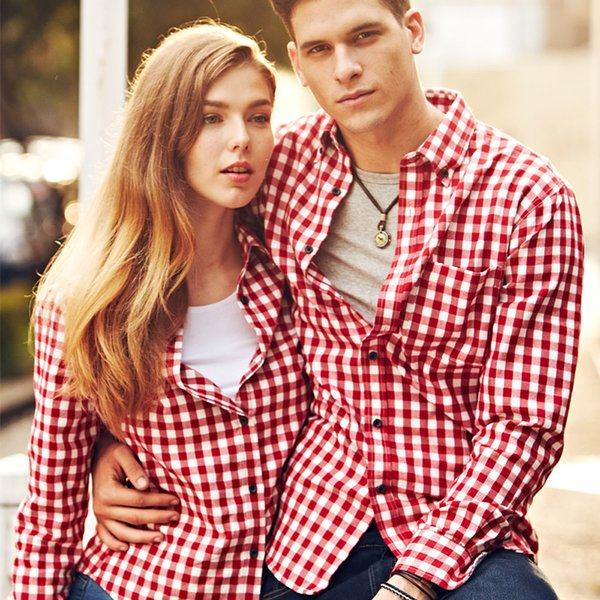 Large Size Men Dress Shirt Men's Long Sleeve Plaid Couple Shirts Casual Fashion Style Mens Shirts Clothing For Lover