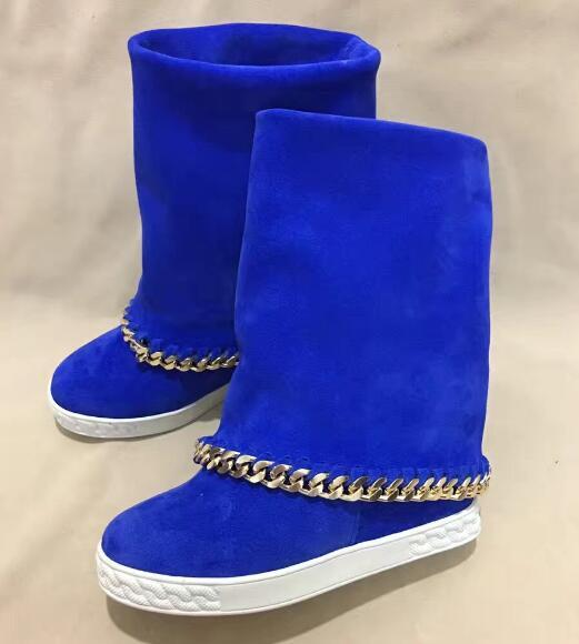 Carpaton Fashion Round Toe Height Increasing Woman Boots Metal Chains Decoaritons Knee High Boots Suede Blue Black Suede