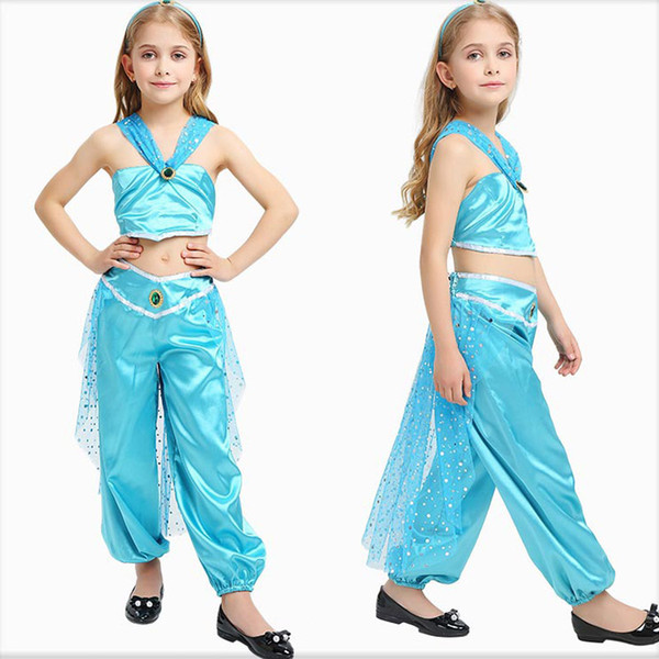 top popular Child Party Stage Suit Halloween Kids Cosplay Arabian Princess Dress Three-Piece Set Sequined Halter Tail Belly Dance Skirt 2021