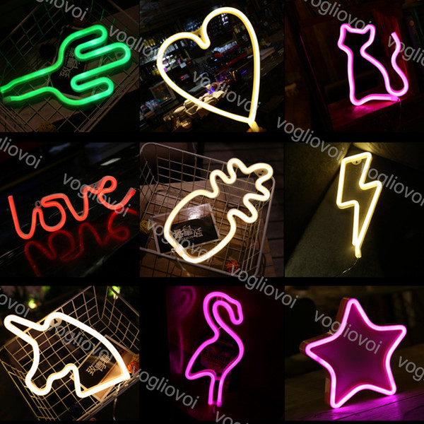 top popular Led Neon Sign Light SMD2835 Indoor Night light Rainbow Moon Bat Deer Lightning Model Holiday Xmas Party Wedding Decorations Table Lamps EUB 2021