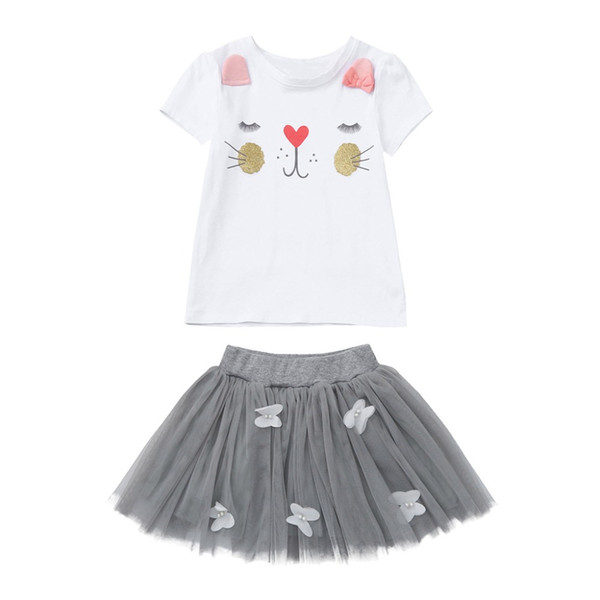 Girls Clothing Sets New Summer Fashion Style Cartoon Kitten Printed T-Shirts+Net Veil Dress 2Pcs Girls Clothes Sets Kids Costume