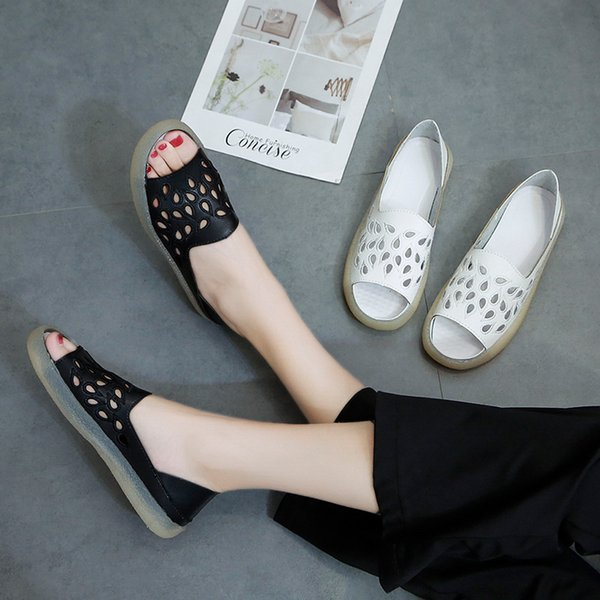Lucky2019 Laser Women's Embroidered Flat Bottom Hollow Out Sandals Two Clothes Comfortable Shoe