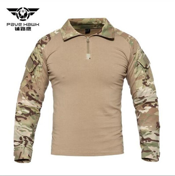 Tactical Camouflage Combat Long Sleeve Shirt Autumn and winter Camo Men T-Shirt Hiking Climbing Hunting Base Layers