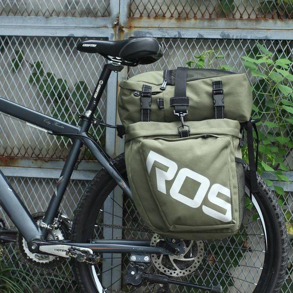 ROSWHEEL 3-in-1 Waterproof Bicycle Cycling Luggage Pannier Bag Cordura Fabric bike Gear Pack Army Green New
