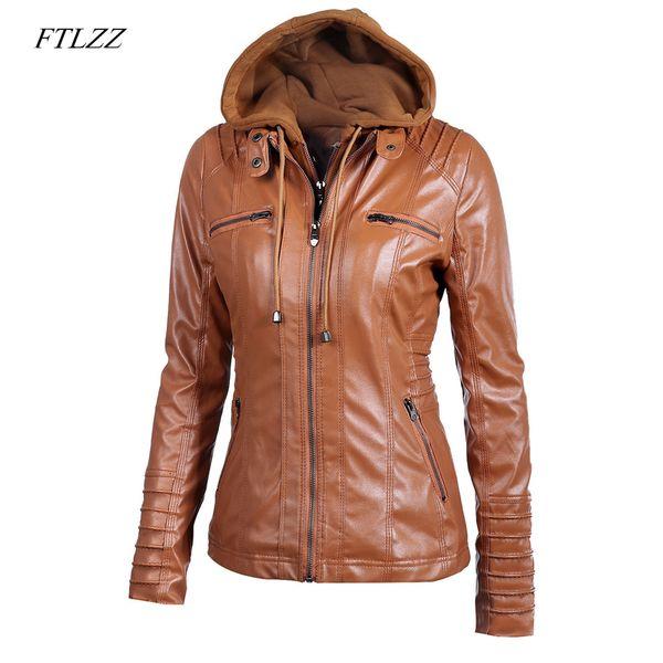 Ftlzz 2019 Nova Mulheres Faux Leather Jacket Pu motocicleta com capuz destacável Hat Leather Casual Plus Size 5XL Punk Casacos Y190920