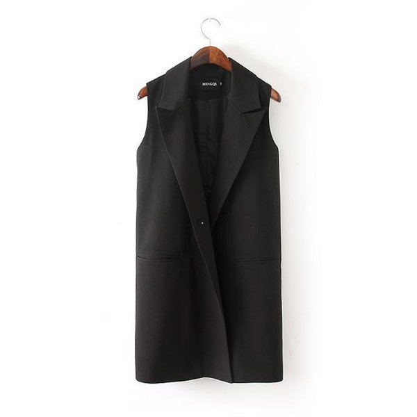 New Women  Solid Sleeveless Knitting Vests Ladies Sleeveless OL UnderWasit Loose Large Oversize Cardigan Black Coat