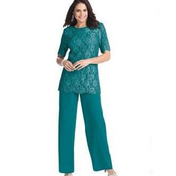 Vert chasseur deux pièces mère pantalon costumes bijou cou étage longueur mousseline de soie dentelle mère de la mariée robe de bal avec dentelle