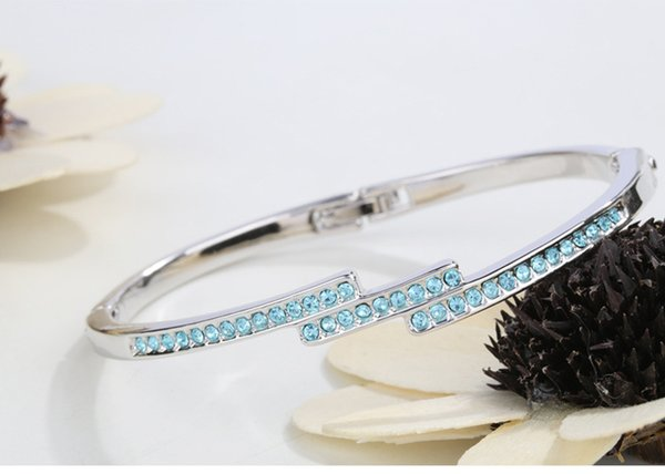 New Famous Brand Design Luxury Fashion Crystals from Swarovski New Arrival Jewelry Bangle for Women Girl High Quality Christmas Bijoux Gift
