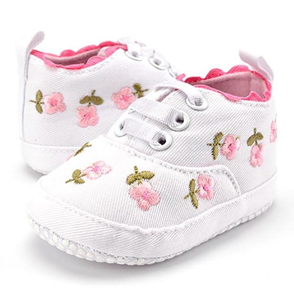 Compre Calzado Para Niñas Pequeñas Zapatos Suaves De Encaje Blanco Con Bordado Floral Zapatos Para Caminar Para Niños Pequeños A $3.94 Del Xieyadan |