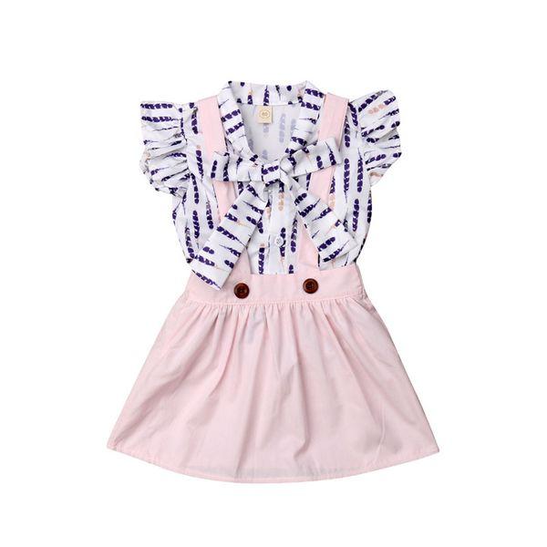 Nette neugeborene Babys beugen T-Shirts Tops + Röcke arbeiten sleeveless Rüschen-T-Stücke Kleidung-Sets 0-4T um