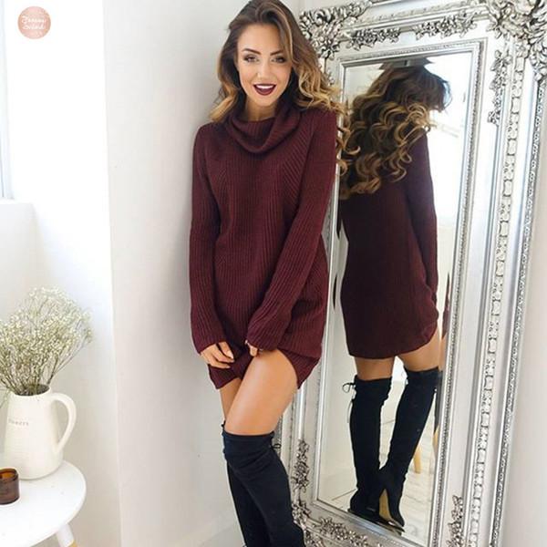 Kazak% 100 Pamuk Turtleneck Kadınlar Örme Yeni Bahar Femme Sonbahar Uzun Kollu Gevşek Bayan elastik Kazak Uzun Sweter Pull