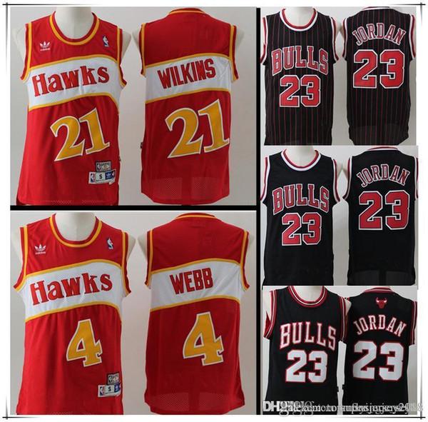 New Men/'s Atlanta Hawks 4# Spud Webb Basketball jersey retro Mesh red