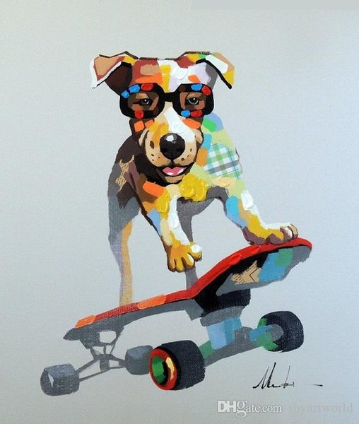 Framed Dog On Skateboard Cool Terrier Mixed Media,Genuine Hand Painted Cartoon Animal Art oil Painting Canvas Museum Quality Multi size J055