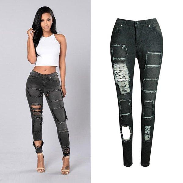 Pantalones vaqueros pitillo rotos de las mujeres lavados a la moda pantalones de lápiz de mezclilla Piel rasgada ajustada Jean Holes Scratch Design