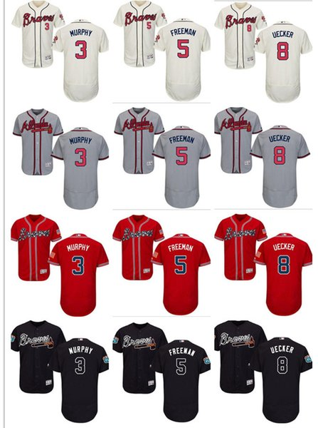 custom Men's Women Youth Majestic Braves Jersey #5 Freddie Freeman 8 Bob Uecker 3 Dale Murphy Home Black Red white Kids Baseball Jerseys