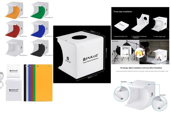 Orijinal PULUZ Mini Katlanır Lightbox Fotoğraf Fotoğraf Stüdyosu Softbox 2 Panel LED Işık Yumuşak Kutu Fotoğraf Arka Plan Kiti DSLR için Işık kutusu