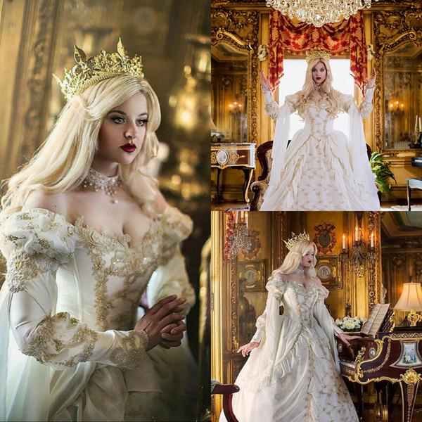 Rétro médiévale celtique gothique robes de mariage hors épaule manches longues conte de fées victorien robes de mariée romantique pays robe de mariée 2019