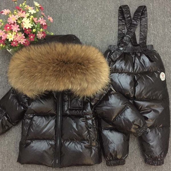 Russian Winter Down Suit Super Warm Children Winter Suits Boys Girl Duck Down Jacket+overalls 2 Pcs Clothing Set Kids Snow WearMX190916