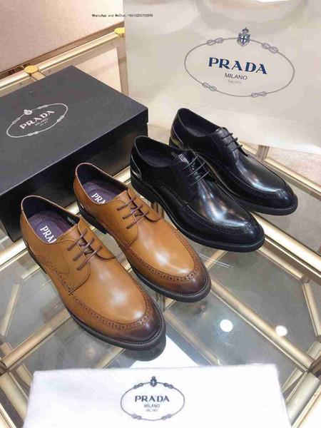 2019 Mode aus echtem Leder Männer Kleid Spitz für Männer, Designer Marke