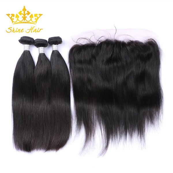 Brille los paquetes de pelo con la trama del pelo liso recto negro natural humano del 100% frontal 8-28 pulgadas de encaje peruano de la virgen 13x4 frontal