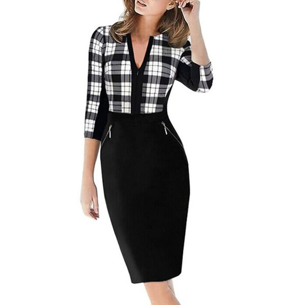 Salopette Femme Stretch Taille Haute Charmant Casual Dress Femmes Automne Zip Pocket Dress Vestidos Grande Taille