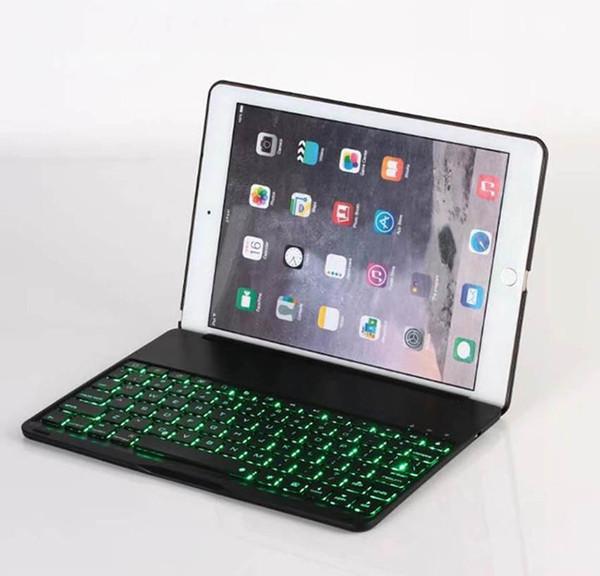 Drahtlose Bluetooth Tastaturabdeckung Fall Mit Hintergrundbeleuchtung Aluminiumlegierung 7 Farben Backlit Cases Für iPad Pro 9,7 Neue 2018 iPad Air 2 DHL 22 stücke
