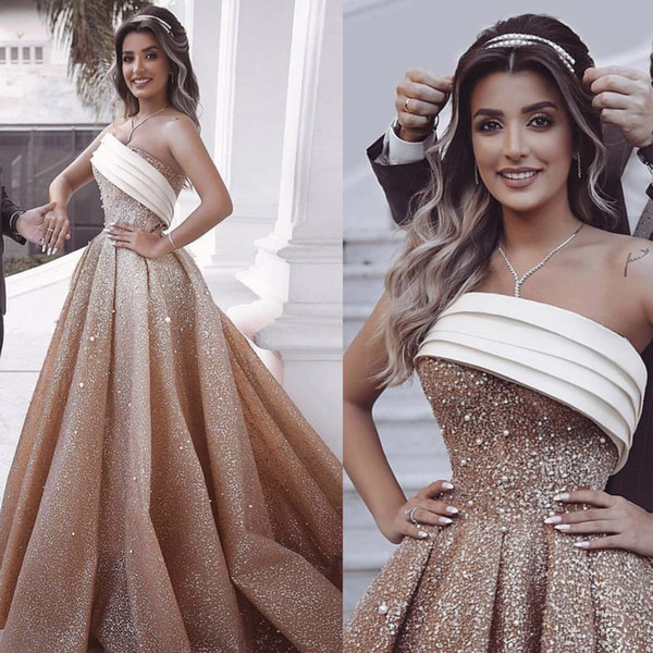 Champagne Prom Dresses 2019 One Shoulder Pleats Sleeveless Sparkly Sequins Pearls A Line Floor Length Evening Dresses Gowns Vestidos