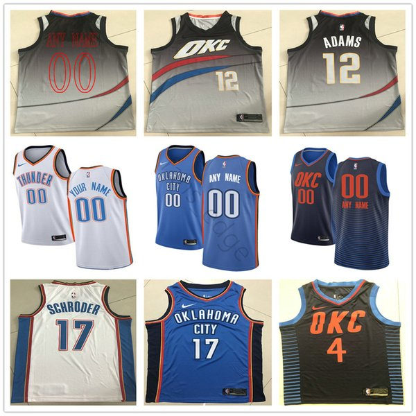 quality design 834f0 44a26 2019 Printed Oklahoma City 0 Russell Westbrook 13 Paul George 12 Steven  Adams 17 Dennis Schroder 21 Andre Roberson Thunder Basketball Jerseys From  ...