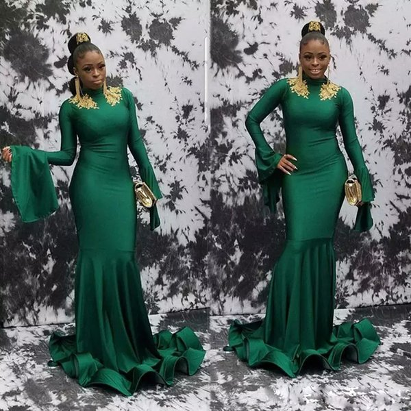 Dark Green Sheath Muslim Evening Dresses High Collar Long Sleeve With Gold Appliques Formal Wear Elastic Sweep Train Africa Evening Gown