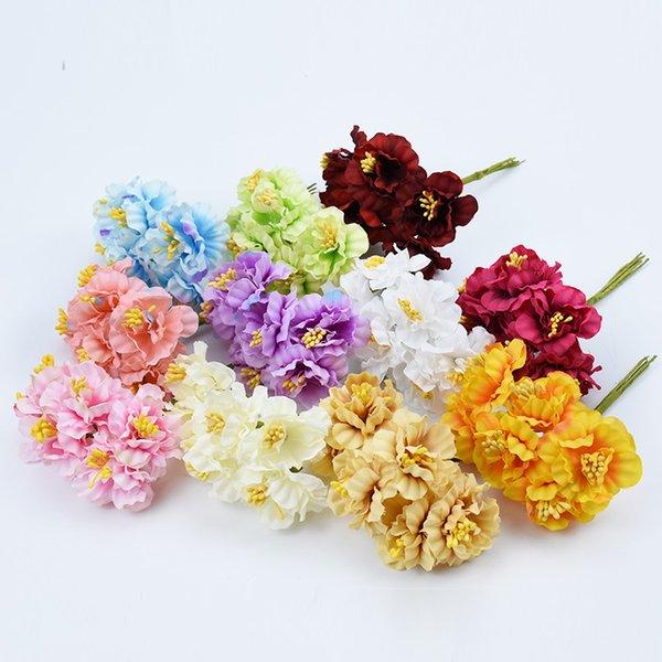 Künstliche Pflanzen gefälschte Staubblatt DIY Geschenke Süßigkeiten Box Vasen für Hauptdekoration Seidenblumen Bouquet Brautaccessoires Clearance