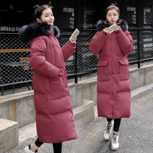 Große Pelzkragen koreanische weibliche Winterjacken mit Kapuze Damen lange Mäntel Daunenjacke Parka verdicken warme Mantel Tops Slim Fit neue Mode