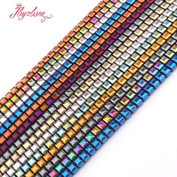 "4mm Faceted Cube Suqare Metallic Coated Hematite No Magnetic Natural Stone Beads For Necklace Jewelry Making 15"" Free Shipping"
