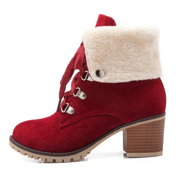 TAOFFEN Größe 34-43 Damen Dickes Fell Stiefeletten Frauen High Heels Kurze Stiefel mit Pelz Schuhe Frauen Winter Warme Botas Schuhe