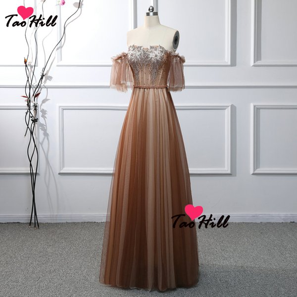 TaoHill 2019 New Real Made Brown Evening Dress Sweetheart Neck Cap Sleeves Beading and Applique Bust Crystal Belt Fashion Long Formal Dress
