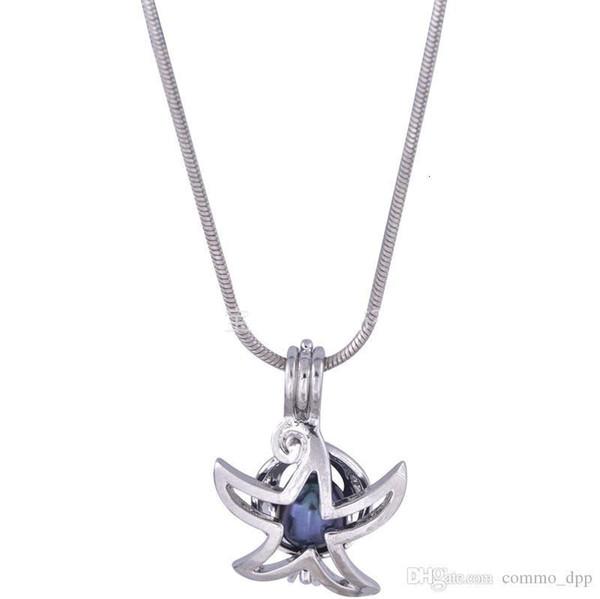 Moda Starfish Pearl Cages Colgantes Chapado en plata Abalorios de gemas abiertas Jaula Medallones flotantes Encantos Fit Collares Pulseras Diy Jewelry