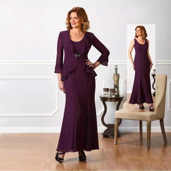 Artı Boyutu Zarif Şifon Anne Elbiseler Uzun Kollu Ceket anne Gelin Damat Elbise Kadın Resmi Elbise BC1207
