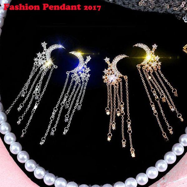 2019 New Fashion Rhinestone Crystal Drop Earring Statement Dangle Long Tassel Earrings moon star shape earrings Summer Style