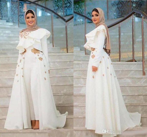 Long Sleeves Appliques Arabic Dresses Evening Formal Wear Long Sleeve Jumpsuits Prom Dress With Overskirts Cheap Women's Pant Suits