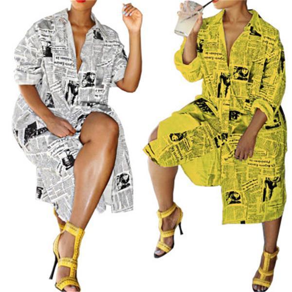 Journal Lettre Imprimer Robe Longue Femmes À Manches Longues Sexy Vintage Plus La Taille T-shirt Femme Blouse Printemps Cardigan Chemise Tops Vêtements S-2XL