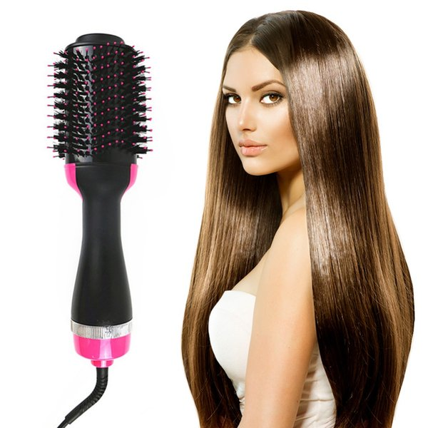 Drop Ship Electric Heating Hair Straight Curler Pro Salon Hair Brush One Step Dry/Wet Two Using Hair Dryer Comb EU/US/UK Plug