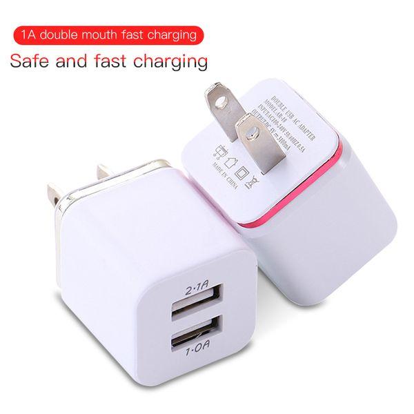 Metal Dual USB Cargadores de teléfono EE. UU. UE Adaptador de corriente Cargadores de pared Enchufe para iPhone Samsung Tablet iPad 2.1A Enchufe de cargador rápido