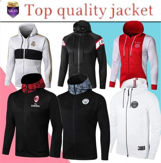 best selling 19 20 PSG soccer jacket tracksuit Survetement Paris MBAPPE Real Madrid Marseille City Hooded Jacket
