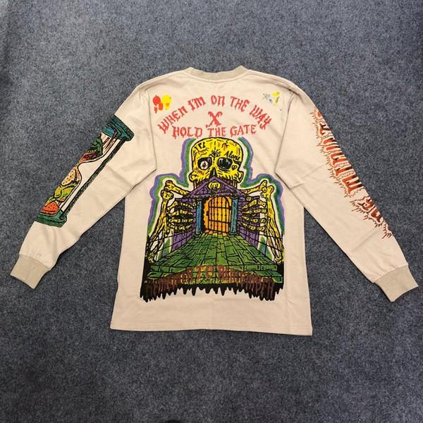 Kanye West Season 6 Kids See Ghosts Graffiti Hombres Camiseta con cuello redondo Moda hip hop Nueva llegada Magpie Skeleton Streetwear T c