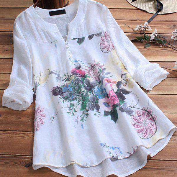 Women Cotton Linen Floral Print Shirt Top Plus Size 5xl Patchwork Tunic O-neck Long Sleeve Female Blouse 2019 Summer Lady Shirts Y19062601