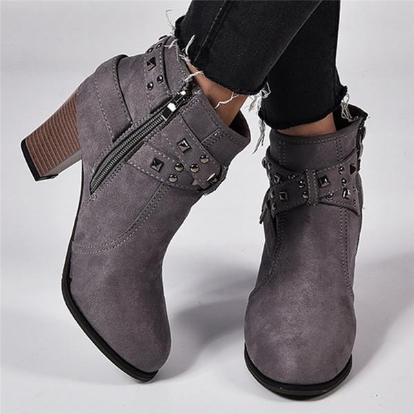 Autunno Inverno Le donne cerniera stivali stivali rivetto donne stivaletti invernali di cotone stivaletti scarpe da donna dei pattini di punta rotondi scamosciato